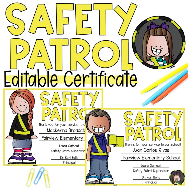 EDITABLE Safety Patrol Award Certificate! by Music City ...