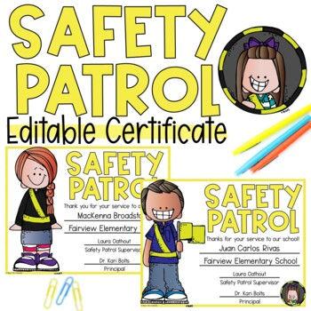 EDITABLE Safety Patrol Award Certificate!