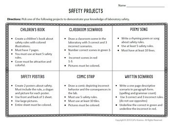 Lab Safety Project Choice Board