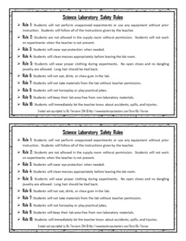 Science Lab Safety Rules Activity