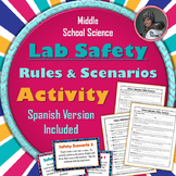 Science Lab Safety Rules and Scenarios Activity in English and Spanish