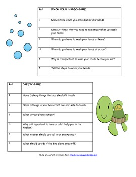 Safety Rules/Manners Dice Game-Practice Important Functional Life Skills