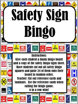 cut paste safety sign bingo by empowered by them tpt