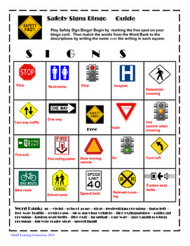 Reading Safety Signs Bingo