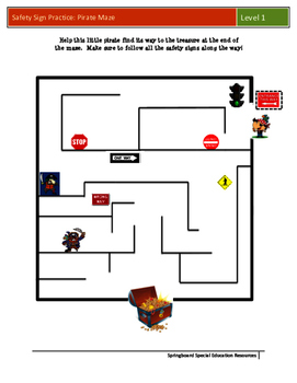 Safety Sign Practice: Pirate Maze (Level 1)