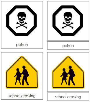 Safety Signs: 3-Part Cards