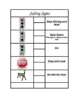 Safety Signs File Folder Game