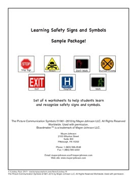 Safety Signs and Symbols Worksheets - Sampler