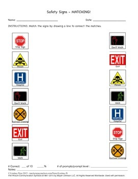 safety signs and symbols worksheets sampler by everything nice. Black Bedroom Furniture Sets. Home Design Ideas