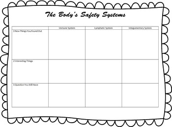 Safety Systems Graphic Organizer