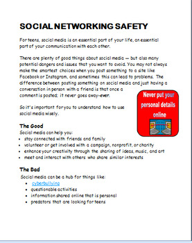 """Social Media Safety"" -Teen- Lesson plan, writing prompt"