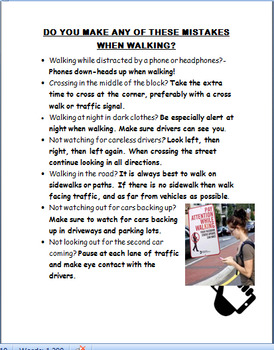 """Teen Walking Distractions"" lesson and 3 activities"