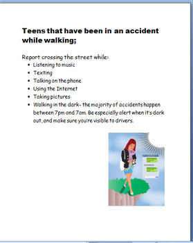 """""""Teen Safety-Walking While Distracted"""" activities"""