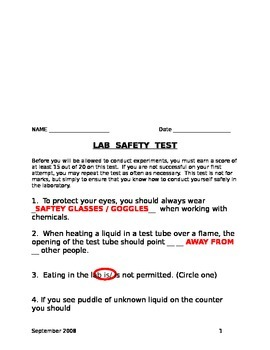 Safety Test Answers