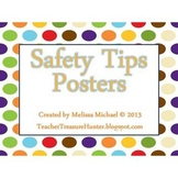 Safety Tips Posters ~ Dots Background - Water, Fire, Personal, Road SAFETY