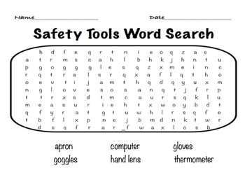 Safety Tools Word Search