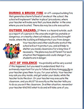 """School emergency-""""What To Do During a School Emergency"""" lesson, Activities"""