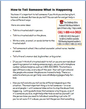"Abuse ""'What to do if You are Being Abused"" lesson plan, activities"