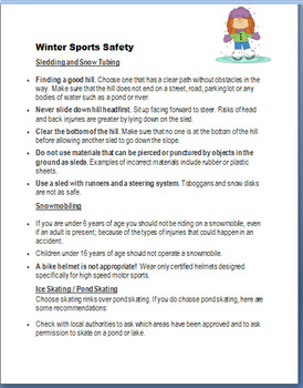 """Safety- """"Winter Safety""""- lesson, 3 activities, coloring pages"""