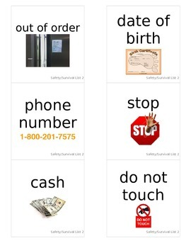 Safety and Survival Word Flashcards with Pictures List 2 (52 CARDS)
