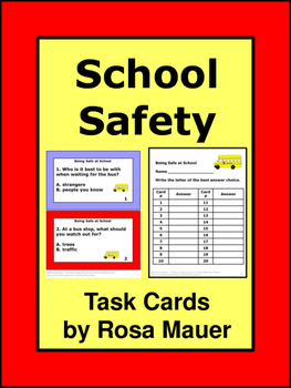 Being Safe at School Task Cards