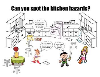 Safety in the kitchen cartoon by mspowerpoint teachers for 5 kitchen safety hazards
