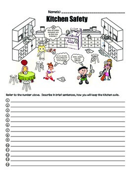 Safety in the Kitchen Cartoon (with number references)