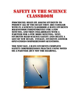 Safety in the Science Classroom Reading