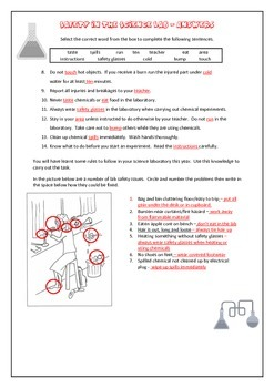 Safety in the Science lab - worksheet