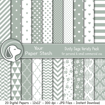 Sage Green Digtial Scrapbook Papers With Stripes Stars & Polka Dot Patterns