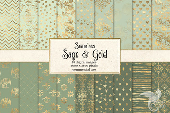 Sage and Gold digital paper, green and gold foil seamless patterns