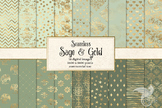 Sage and Gold digital paper, green and gold foil seamless