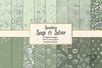 Sage and Silver Digital Paper, seamless silver and green patterns