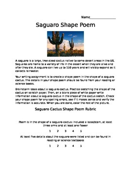 Saguaro Cactus Shape Poem