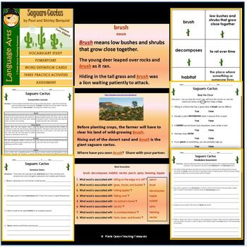 Saguaro Cactus Vocabulary Activities/Common Core Aligned