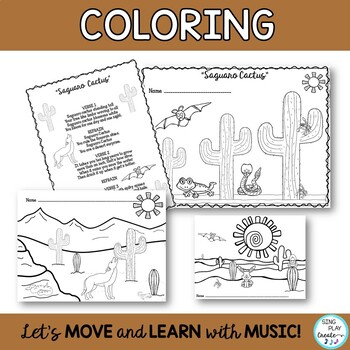 """""""Saguaro Cactus"""" Desert Song with  Literacy Activities and Mp3 Tracks"""