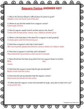 Saguaro Cactus by Paul and Shirley Berquist Questions- Common Core