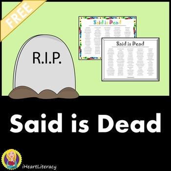 Said is Dead - Free Printable Synonym Poster
