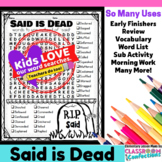 Said is Dead Word Search