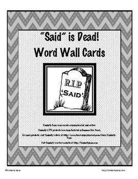 Said is Dead Word Wall Card Collection