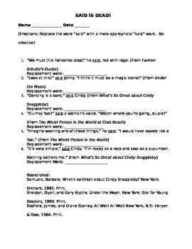 Said is Dead worksheet