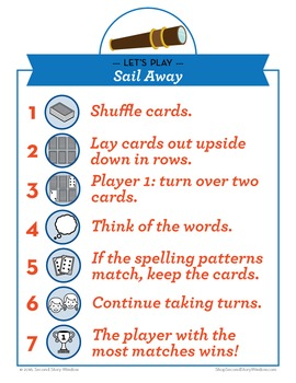 Sail Away short/long a, ai Phonics Game - Words Their Way Game