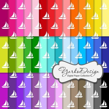 Sail Boat Pattern Digital Scrapbooking Paper Set, 42 Digital Papers