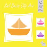 Sail Boats Clip Art Clipart Sea Ocean Vehicles Transport 10 Colors