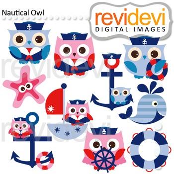 Sail away Nautical owl clip art (blue, pink, sailor, anchor) cute clipart