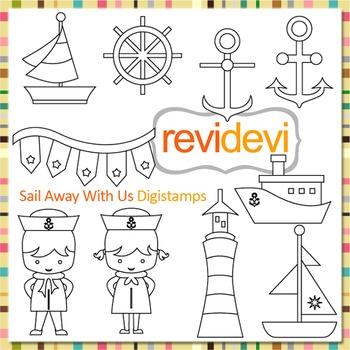 Line Art Sail away, nautical kids clip art (digital stamps