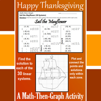 Sail the Mayflower - A Thanksgiving Math-Then-Graph Activity - Solve 30 Systems