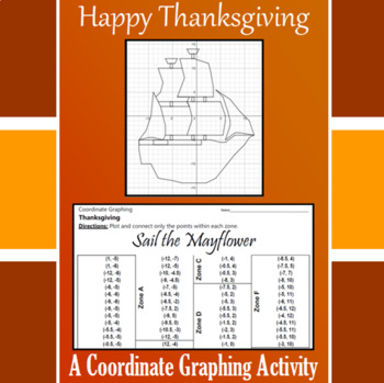 Thanksgiving - Sail The Mayflower - A Coordinate Graphing