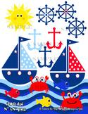 Sailboat Clipart, Boat Clip Art, Fish, Crab, Sailing Clipart, Summer Clip Art