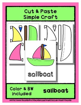 Sailboat  - Cut & Paste Craft - Super Easy perfect for Pre-K & Kindergarten